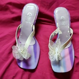 2/$20 Carlos Santana purple butterfly sandals